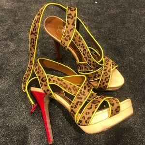 Jessica Simpson leopard stilettos